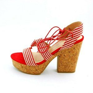 Yoki Nolan 30 Fabric Lace Up High Heel Sandal NEW